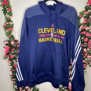 🌹Adidas Blue Cleveland Basketball Hoodie Men's Sweater 2XL Casual Outdoor Sport